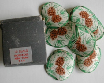 Vintage Norcross Pinecone Pine Cone Gummed Seals Stickers Original Box 10 Paper Ephemera