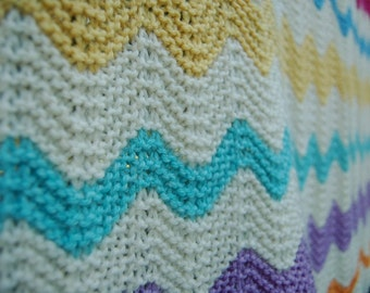 Hand knit wool chevron baby toddler blanket