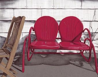Art Print - Wall Art - Metal Lawn Chair - Metal Glider Lawn Chair - Red Chair - Mixed Media Art Print - Vintage Metal Chair