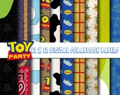 Disney Toy Story Inspired 12x12 Digital Paper Backgrounds for Digital Scrapbooking, Party Supplies, etc -INSTANT DOWNLOAD -