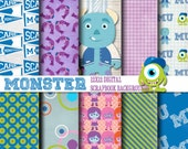 Monster School 12x12 Digital Paper Backgrounds for Digital Scrapbooking, Party Supplies, etc -INSTANT DOWNLOAD -