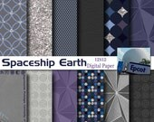 Disney EPCOT -  Spaceship Earth Inspired 12x12 Digital Paper Pack for Digital Scrapbooking, Party Supplies, etc -INSTANT DOWNLOAD -