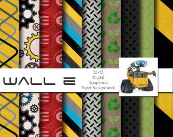 Disney Wall E Inspired 12x12 Digital Scrapbook Paper Backgrounds -INSTANT DOWNLOAD - PU and S4H