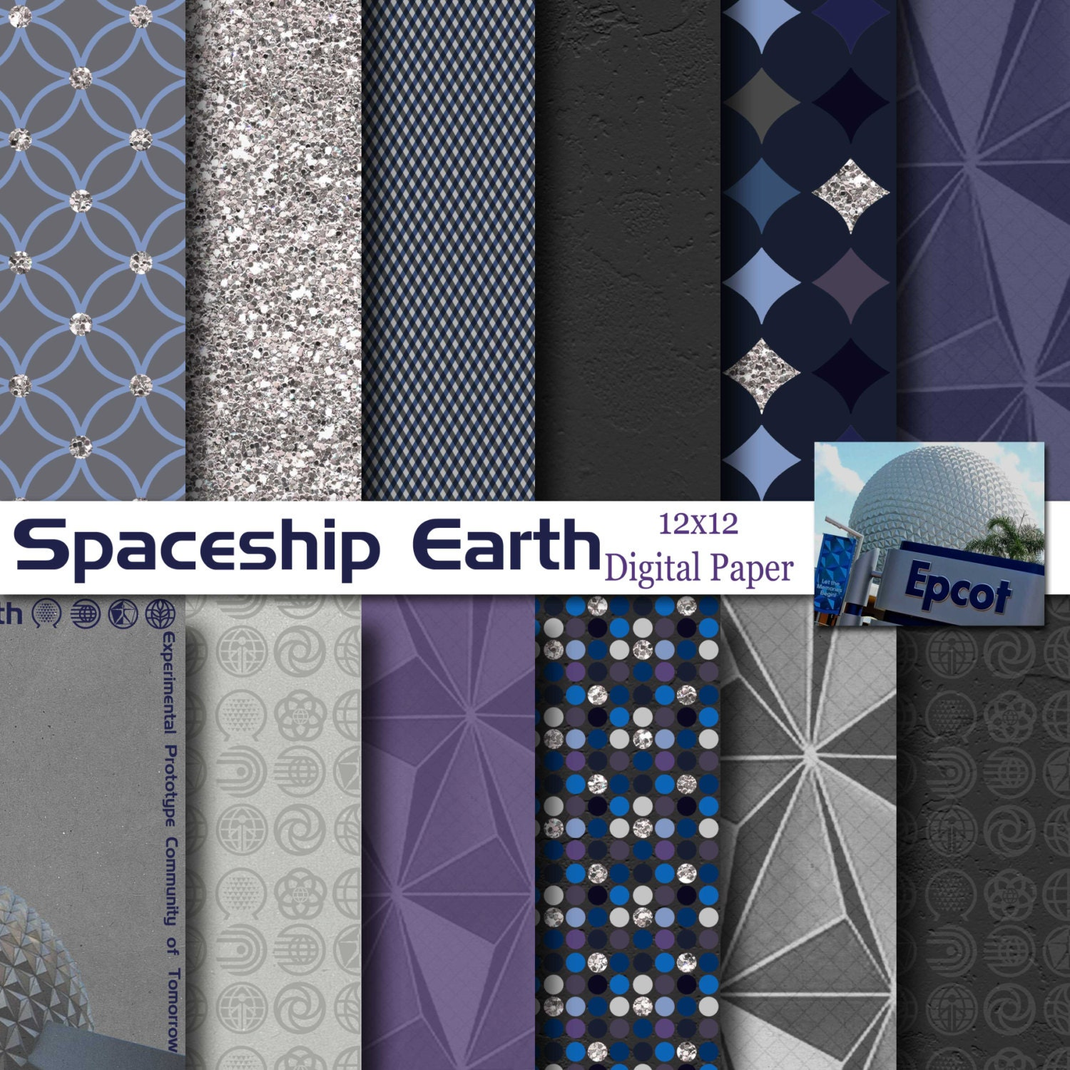 Disney epcot spaceship earth inspired 12x12 digital paper for Spaceship fabric