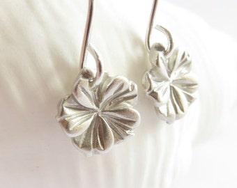 Tiny silver hibiscus earrings, silver flower earrings, beach earrings, beach jewelry, simple silver earrings, made in hawaii, drop earrings