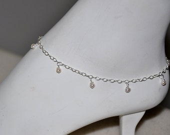 Ankle bracelet,  Pearl Bracelet,  Sterling silver, Freshwater Pearls, Sterling Silver chain, Adjustable,  Beach Wedding