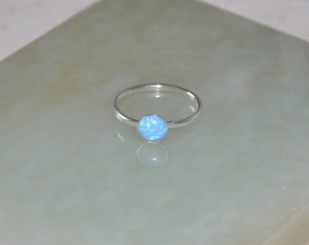 Stacking Ring, Opal Ring, Silver Ring, Gemstone Ring, Blue Opal size 6.75, 7,5, 9.25,  Australian Opal, Opal Jewelry