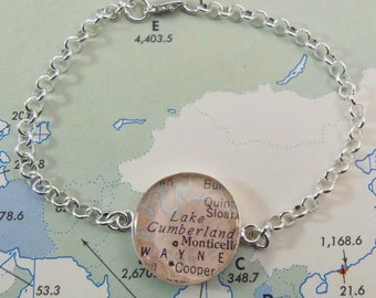 Map Bracelet, Sterling Silver, Keep a Memory Alive