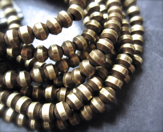 Oxidized Cat Eye Rondelles Solid Brass Beads - 14 1/2  inches - 4mm X 3mm