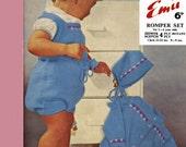 Vintage Childrens Romper Set, (Jacket, Bonnet and Rompers) Knitting Pattern, 1960 (PDF) Pattern, Emu 918