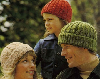 Vintage Hats for the Famiy, Knitting Pattern, 1960 (PDF) Pattern, Patons 1223