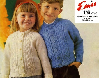 Vintage Boy's and Girl's Cardigan, Knitting Pattern, 1960 (PDF) Pattern, Emu 6130
