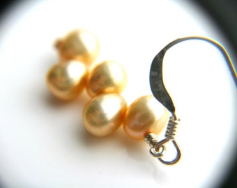 Champagne Pearl Earrings . Pearl Wedding Dangle Earrings . Freshwater Pearl Earrings . Cream Pearl Earrings Sterling - Plath Collection