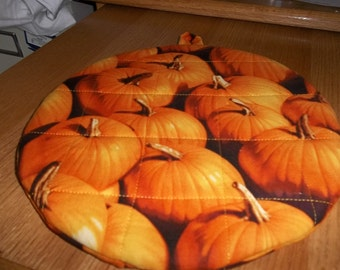 Pumpkin, Potholders, Hot Pads, Quilted, Round, Handmade, Cotton Fabric, Insulated, Trivet, 9 Inches