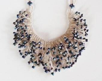 Brass iris and blue iris beadwoven fringe necklace