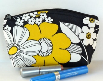 Sale - Yellow and Black - Floral - Makeup Bag - Zippered Pouch - Padded - Flat Bottom - Round Top - Ready to Ship