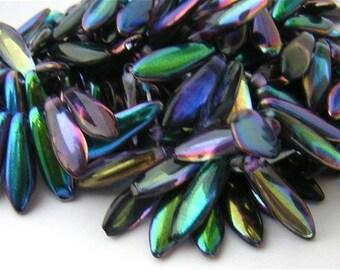 18 Czech Glass Dagger Beads  'Magic' BLUE PURPLE GREEN Mix 16x5mm