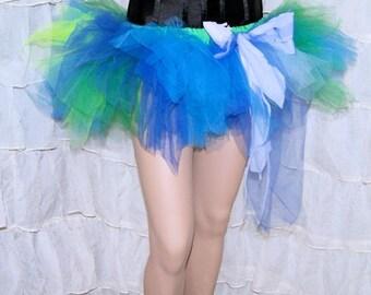 BONANZA Turquoise Blue and Neon Green Raver Distressed Trashy TuTu Skirt Small MTCoffinz --- Ready to ship