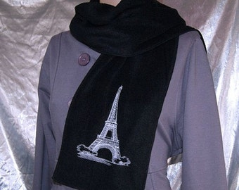 Embroidered Eiffel Tower Black Fleece Scarf MTCoffinz