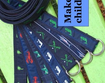 Boys Belt Girl's / Toddler Belt / Canvas Belt / D-ring Ribbon Belt / Baby Belt - Whale Golf Aligator Duck Lacrosse Lobster Flamingo Boat