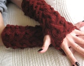 SEXY Ruby Red Fingerless Gloves Alpaca Wool Knit Steampunk Goth Boho Gauntlets Dragon Warm