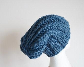 Chunky Knit Hat in Denim Blue - Navigator Hat - Hand Knit Hat For Men or Women