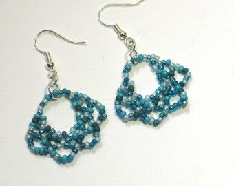 Aqua Beaded Earrings - Blue Oglala Lace Earrings - Turquoise Beaded Fan Earrings - Blue Beadwoven Earrings