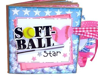 Softball Scrapbook -  Girls Sports Paper Bag Album