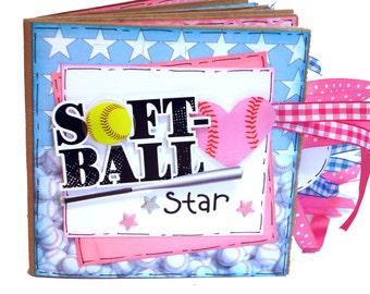 Softball Scrapbook -  Mini Softball Scrapbook - Girls Sports Paper Bag Album