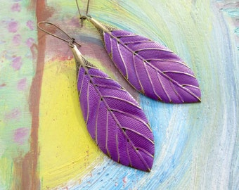 Purple earrings long leaf earrings Boho feather earrings colorful Wedding Bohemian jewelry