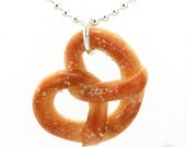 Scented Freshly Baked Soft Pretzel Necklace Charm Kawaii Polymer Clay Miniature Unique Food Jewelry Design
