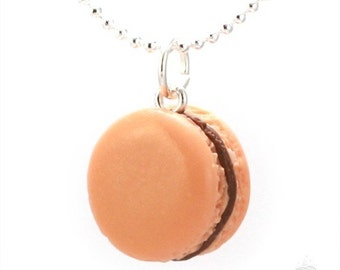 Scented Caramel Coffee French Delicate Macaron Necklace Polymer Clay Charm Unique Handmade Pendant Food Jewelry