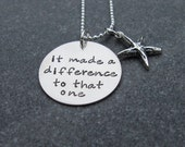 Starfish Poem It Made It A Difference To That One Necklace Social Work Ready to Ship