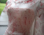 ZOMBIE peach lace bride halloween walking DEAD peter pan collar country girl vampire wedding dress US size 2 - 4