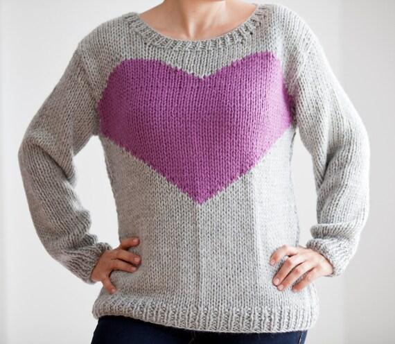 Knitting Pattern Heart Sweater : Hand Knitted Gray Sweater with Heart Pattern by Afra by afra