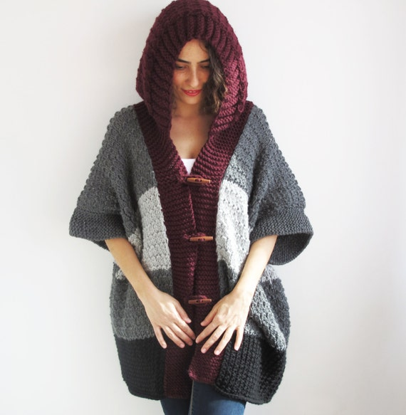 Plus Size Boyfriend Cardigan with Hoodie Gray Burgundy Black
