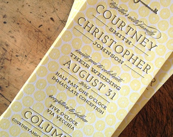 completely custom letterpress wedding invitation design, from scratch suite