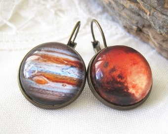 Jupiter and Mars Antique Brass Dangle Earrings