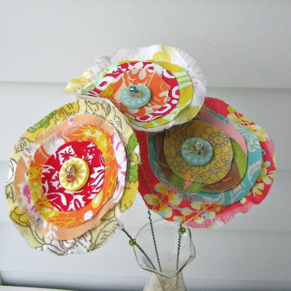 Fabric  Flowers, Button Flowers, Fabric Bouquet,  Spring Flowers, Fabric centerpiece, Fabric Scrap Flowers,  Fake  flowers, 3 stems - No.147