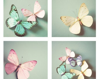 Whimsical butterfly nursery photos in pastel tones - Set of 4 butterfly photos, butterfly decor, nursery wall art, girls room, 4x4, 5x5, 8x8