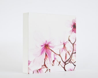 SALE last one! Sweet Pink - photo block, magnolia photograph, flower photo, pale pink blossoms, pink flower photo, spring, floral decor
