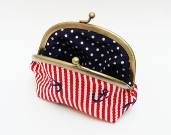 Coin purse - Red and white stripe nautical anchors