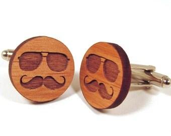 Mustache & Glasses Wooden Cuff Links Aviator Glasses and Mustache Real Wood Cuff Links