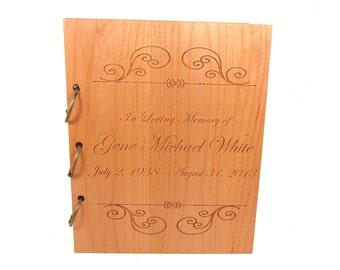 Wooden Memorial Guest Book - Funeral Sign In Book