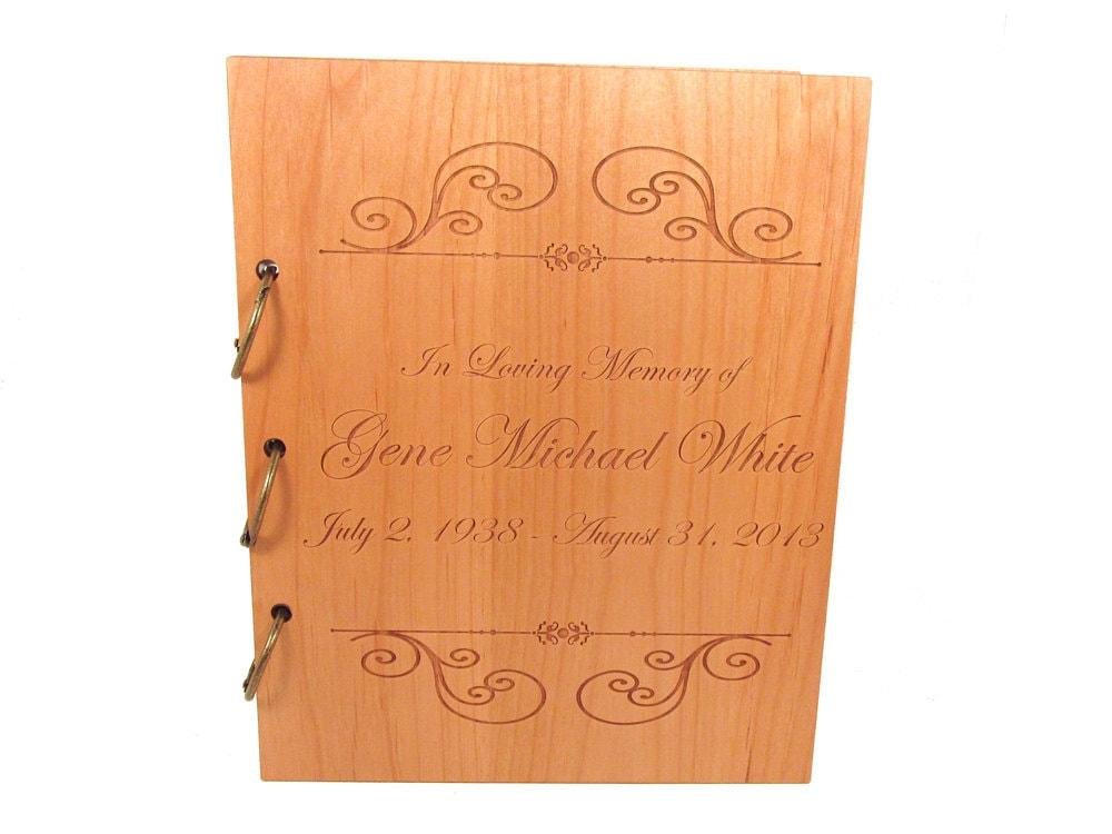 wooden memorial guest book funeral sign in book