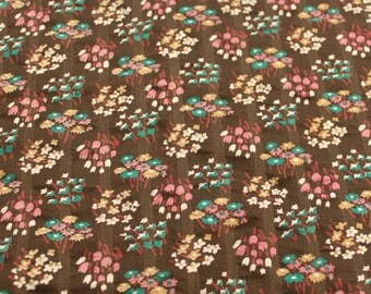 Vintage 1970s Brown Pink Printed Plisse Cotton Fabric - 4 7/8 Yards - Fabric Yardage / Vintage Yardage / Cotton Fabric / 1970s Fabric / 70s