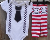 Skater Baby Clothing Set - Faux Suspenders and Tie Bodysuit, Leg warmers - Photo Shoot Outfit - Halloween Costume, Birthday, Shower Gift