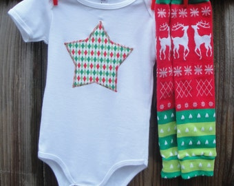 Holiday Baby Bodysuit and Leg Warmer Set for Baby - You Choose Appliqué Shape, Star, Tree, Heart, Tie - Christmas Photo Shoot Outfit or Gift