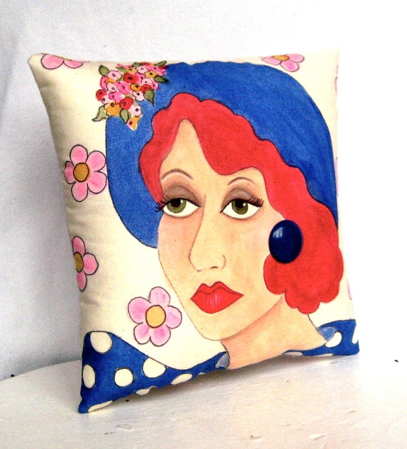 ESTELLE PILLOW, Hand Painted, Midlife Woman, Gift for Woman, Spring Flowers, 50 dollar gift
