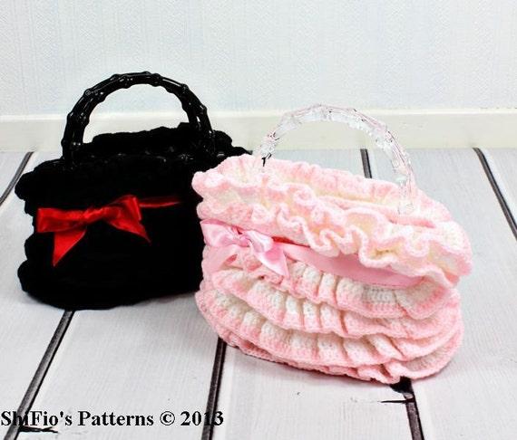 CROCHET PATTERN For Ruffled Handbag, Purse, Tote PDF 122 Digital Download